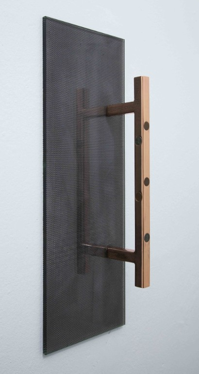Blank Faces, 2014  copper-plated steel, penny blanks, steel pennies, glass, inkjet on perforated vinyl