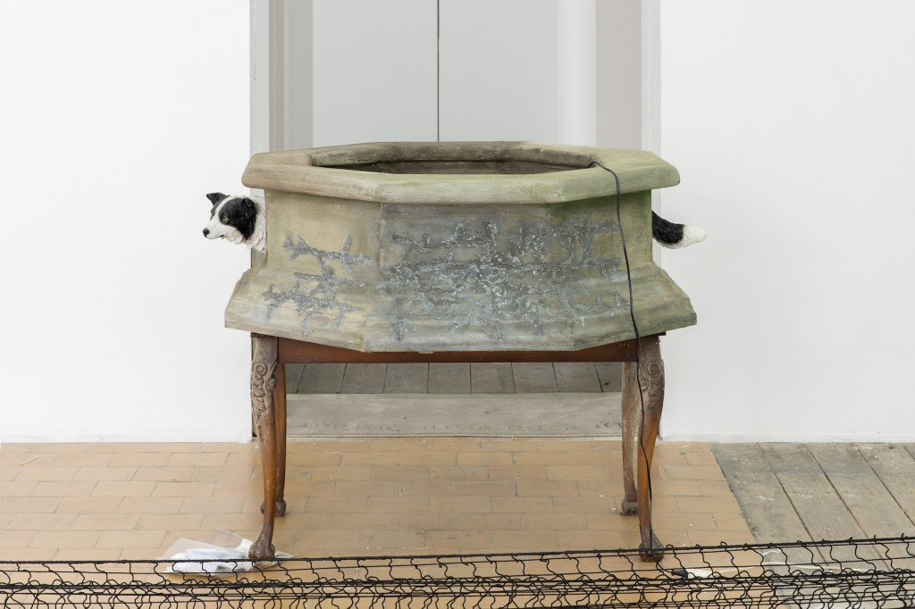 "Hamishi Farah ""Dog Heaven"",2015 Table, fountain, pump, 2 liters collected international water diluted with Brussels tap water 93 x 105 x 105 cm"